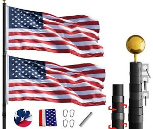 Phantom Black 25FT Flag Pole Kit Residential Telescoping Heavy Duty With US Flag