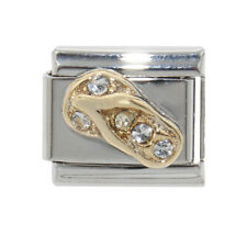 Flipflop with clear stones Italian charm - fits 9mm classic Italian charms