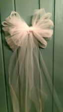 3DAY SALE $30 12 Ivory Wedding  Tulle Pew Bows OR ANY COLOR  RUSH ORDERS AVAIL