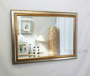 Antique Silver & Gold Wood Frame Wall Mirror Bevelled 92x66cm (36x26inch)