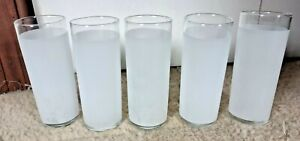 """Set of 5 Libbey 6"""" Tall Tom Collins or Hi Ball White Frosted Drinking Glasses"""