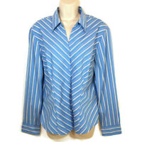 DCC Missy Women's Size Large Blouse Shirt Long Sleeve Button Front Stretch