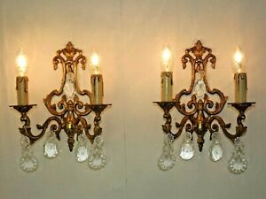 Pair Vintage French Bronze Open Pack Double Wall Lights With Crystals 2311