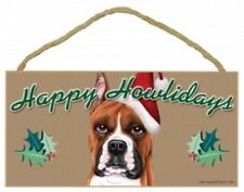 """BOXER, Cropped--Happy Howlidays Dog Decorative Wood Plaque/Sign 5"""" x 10"""""""