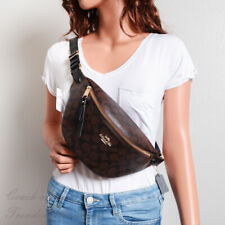 NWT Coach F48740 Belt Bag Fanny Pack in Signature Canvas Brown/Black