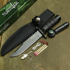 "8 3/8"" Survival Tactical Emergency Fixed Blade Camping Knife W/Sheath + Kit New!"