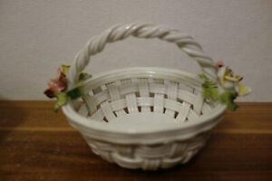 Bassano Italy Keramik Korb Gebäck Konfekt Blumen Schale Rosen Deko 16x12,5x11 cm