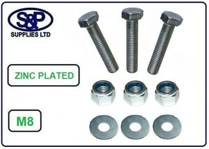 M8 / 8mm / 8MM FULL THREAD BOLT HIGH TENSILE BZP WITH NYLOC NUT AND WASHER