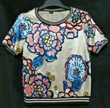 Multicolor floral top  with  contrast trim
