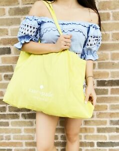 NEW Kate Spade Large Cotton Beach Shop Market Reusable Tote Bag Yellow Foldable