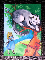 "Original art by Bastet ""Alice and Cheshire Cat"" OOAK hand painted ACEO"