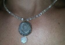 Geode Silver Druzy and rainbow Moonstone man moon face stamped 14k gold necklace