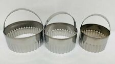 NEW 3 piece Fluted Silver Pastry Cutters Baking Cake Kitchen Tools