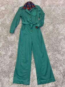 70's Vintage Polyester Green Collared Jumpsuit, Bell Legged, Fits Small