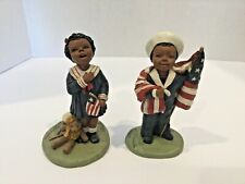 Lot 2 All God's Children Martha Holcombe Billy & Nellie Patriotic Figurines