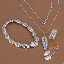 Sterling solid silver feather necklace&bracelet&earrings&rings Sets XLSS112