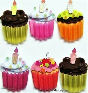 CUP CAKES Jolee's Boutique 3-D Stickers - Cake Candle Birthday Cupcakes