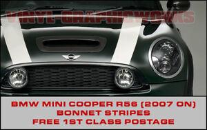 BMW Mini R56 Bonnet Stripes John Cooper Style, Works S, Choice of colours 7 year