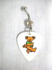NEW GRATEFUL DEAD DANCING BEAR ORANGE & GREEN PRINTED GUITAR PICK BELLY RING