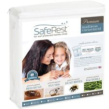 "12""- 15"" SafeRest Premium Waterproof Zippered Bed Bug Proof Mattress Encasement"