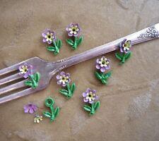 24 sets vintage enamel, bead ,stem/flower,lilac,yellow