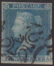 SG14 2d Blue Position SA  four clear &  even margins in VFU, Number 12 in Cross.