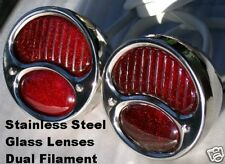 1928-31 FORD Style Polished Stainless TAIL LIGHTS. PAIR