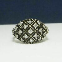 .34ctw White Sapphire 14k Yellow Gold / .925 Sterling Silver Ring Size 6.75