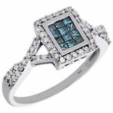 Right Hand Cocktail Ring 0.55 Ct 10K White Gold Blue Diamond Rectangle Halo