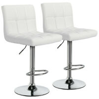 2pcs Adjustable Modern PU Leather Swivel Bar Stools Counter Height Gas Lift