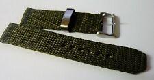 Gents 20mm Military Nylon Woven Watch Strap ---Green Fitting Heavy Duty Strap