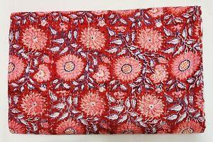 Kantha Quilt Hand Block Print Indian Bedspread Blanket Cotton Coverlet Bedding V