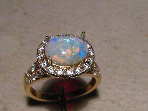 Australian Opal &  Diamond Ring 14 k Yellow  Gold  - Free Re size