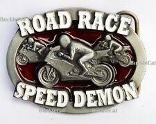 Motorcycle 3D Belt Buckle Biker Road Race Speed Demon Punk Gothic Motorcyclist