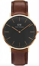 Daniel Wellington Watch * DW00100125 Classic Black Bristol 40MM Brown Leather
