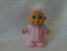 "RARE RUSS BERRIE 3 1/4"" TALL BABY GIGGLES TROLL DOLL WEARING PINK PJs + BOTTLE"