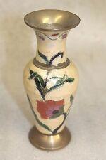 "Vintage 6"" India Cloisonne Hand Painted Brass Vase"