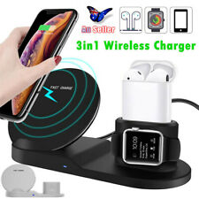 3in1 Qi Wireless Charger Fast Charge Dock Stand Station For Apple Samsung Watch