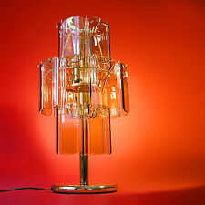 Vintage Table Lamp Light Luxury Smoke Glass Brass Gold 70s Mid-Century Modern ❤️