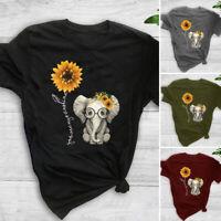 Women Sunflower Tops Ladies Short Sleeve Casual Loose Blouse Tee Shirt Plus Size