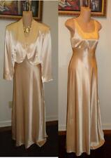Vtg. EREZ  LEVY Champagne Beige 2 Pc Formal Dress Gown  & Jacket Size 10