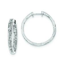 .925 Sterling Silver Genuine Diamond Hinged Hoop Earrings (0.59 CTW) MSRP $2008
