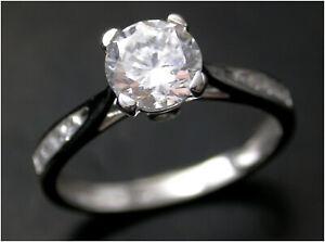 Brilliant-cut Solitaire Ring UK- M Diamond simulant 9ct White Gold London HM