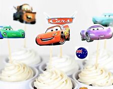 NEW 24P Boy Mcqueen Cars Party Cupcake Cakes Decorating Toppers Picks Flags Set