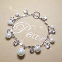 18k white gold gp charm bracelet made with Swarovski crystal pearl link chain