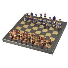 "Handpainted Staunton Inspired Metal Luxury Chess Pieces & board Set -12"" board"