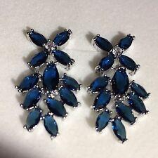 J36 White Gold Filled Blue Sapphire Chandelier Drop Dangle Earrings Plum UK BOXD