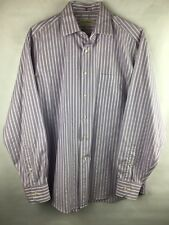 Tommy Bahama Men's Size 16 34-35 Button Down Shirt Purple White Striped Long Slv