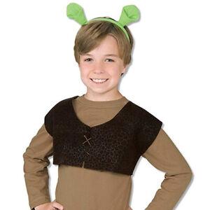 SHREK VEST AND EARS SET KIDS BOYS GIRLS OGRE FANCY DRESS COSTUME FAIRYTALE FILM