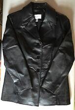 Worthington Ladies Black Leather Peacoat Style Jacket Size Large EUC